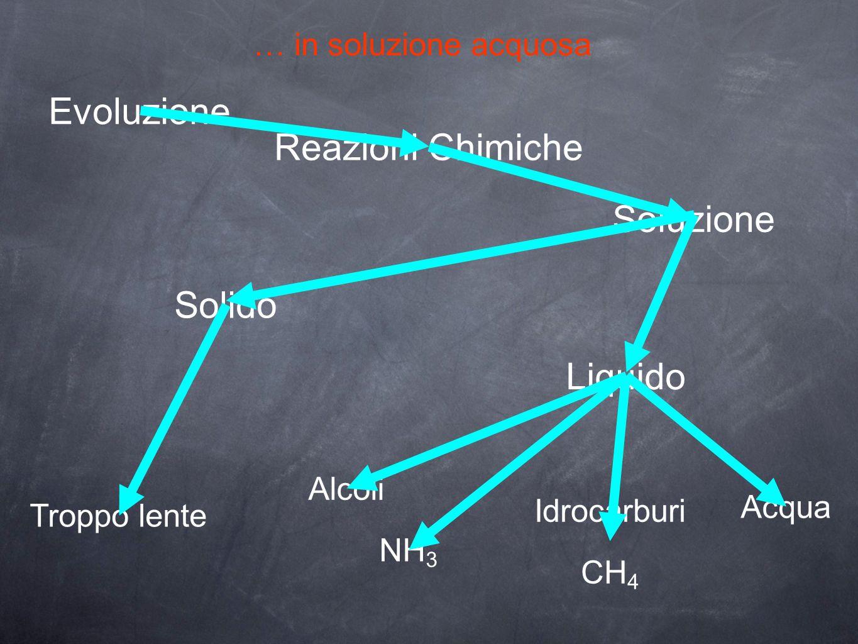 … in soluzione acquosa Evoluzione Reazioni Chimiche Soluzione Solido Liquido Troppo lente Alcoli Idrocarburi CH 4 Acqua NH 3