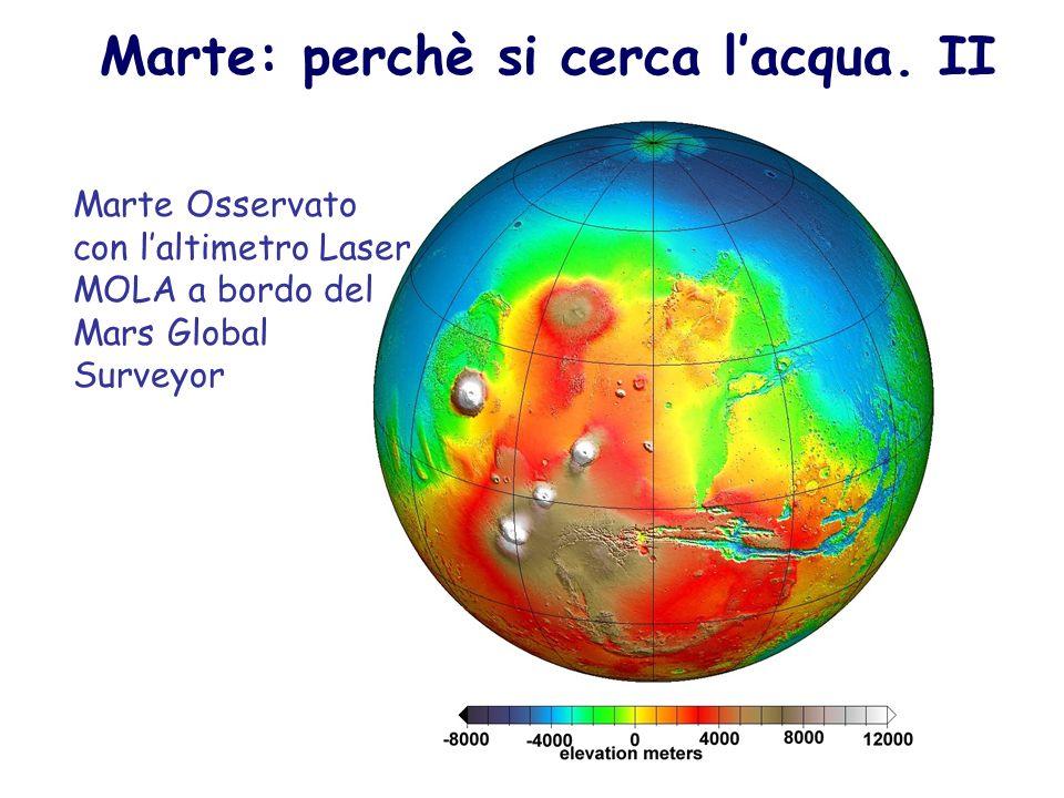Marte: perchè si cerca lacqua. II Marte Osservato con laltimetro Laser MOLA a bordo del Mars Global Surveyor