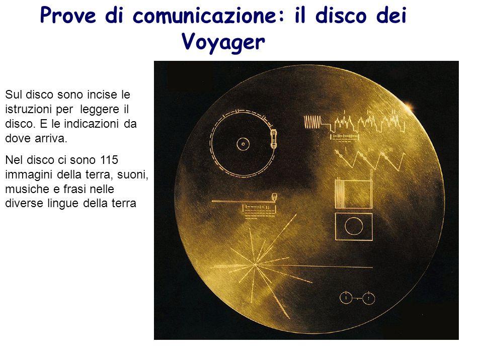 Prove di comunicazione: il disco dei Voyager Sul disco sono incise le istruzioni per leggere il disco. E le indicazioni da dove arriva. Nel disco ci s
