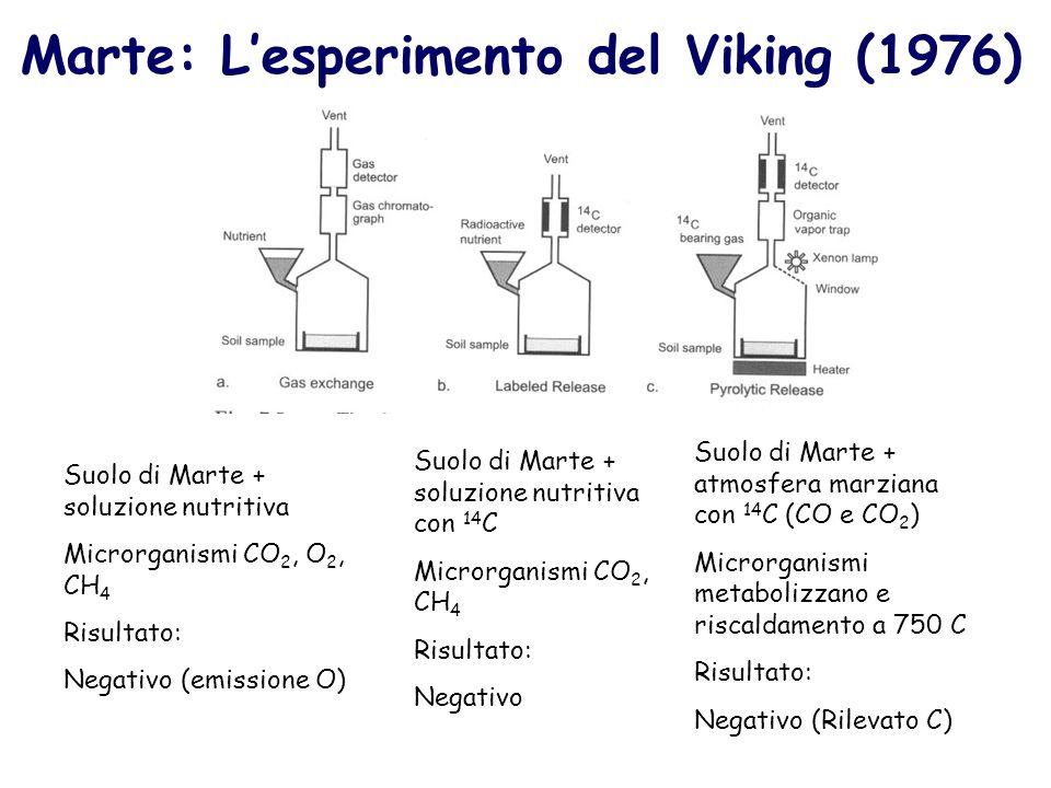 Marte: Lesperimento del Viking (1976) Suolo di Marte + soluzione nutritiva Microrganismi CO 2, O 2, CH 4 Risultato: Negativo (emissione O) Suolo di Ma