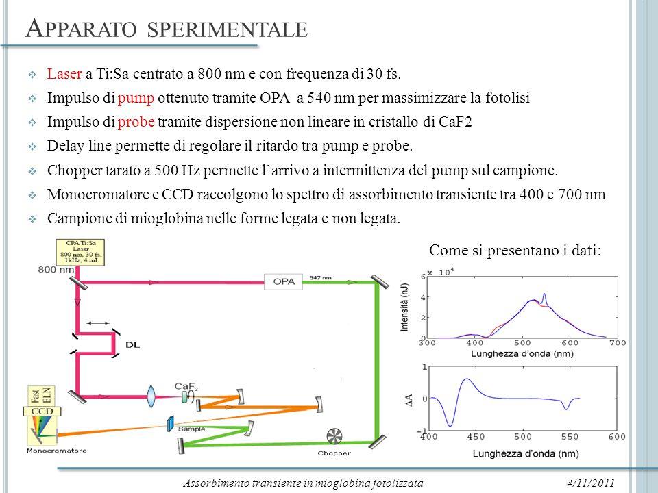 A NALISI DATI : P RESENTAZIONE 27/10/2011 Traccia temporale a 435 nm nel caso della proteina non legata: Assorbimento transiente in funzione della lunghezza donda a tempi selezionati.