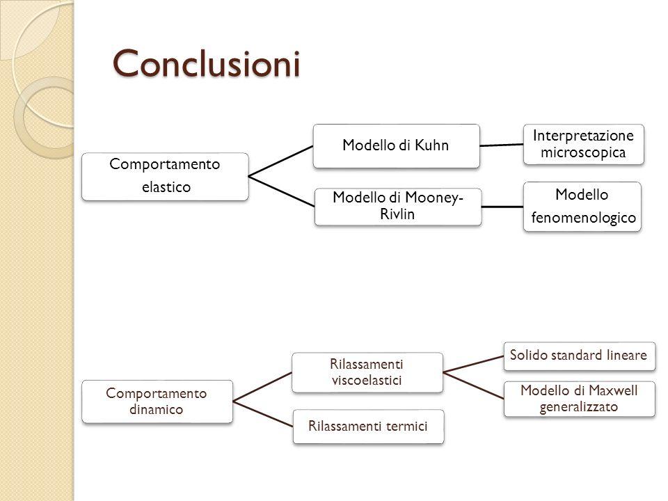 Conclusioni Comportamento elastico Modello di Kuhn Interpretazione microscopica Modello di Mooney- Rivlin Modello fenomenologico Comportamento dinamic