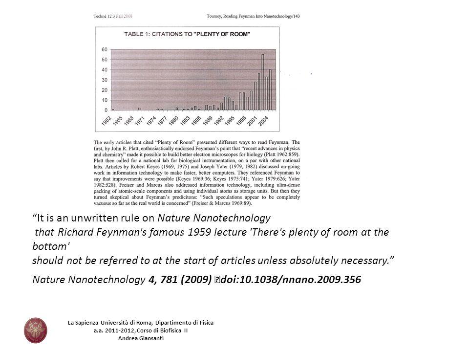 Nature Nanotechnology 4, 781 (2009) doi:10.1038/nnano.2009.356 It is an unwritten rule on Nature Nanotechnology that Richard Feynman's famous 1959 lec