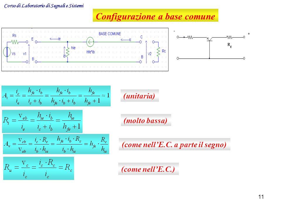 11 Configurazione a base comune (unitaria) (molto bassa) (come nellE.C. a parte il segno) (come nellE.C.) Corso di Laboratorio di Segnali e Sistemi