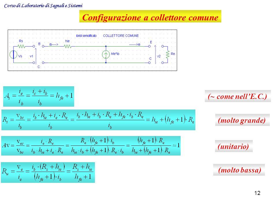 12 Configurazione a collettore comune (~ come nellE.C.) (molto grande) (unitario) (molto bassa) Corso di Laboratorio di Segnali e Sistemi