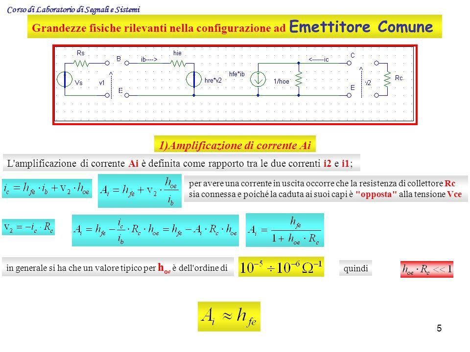5 Grandezze fisiche rilevanti nella configurazione ad Emettitore Comune 1)Amplificazione di corrente Ai L'amplificazione di corrente Ai è definita com