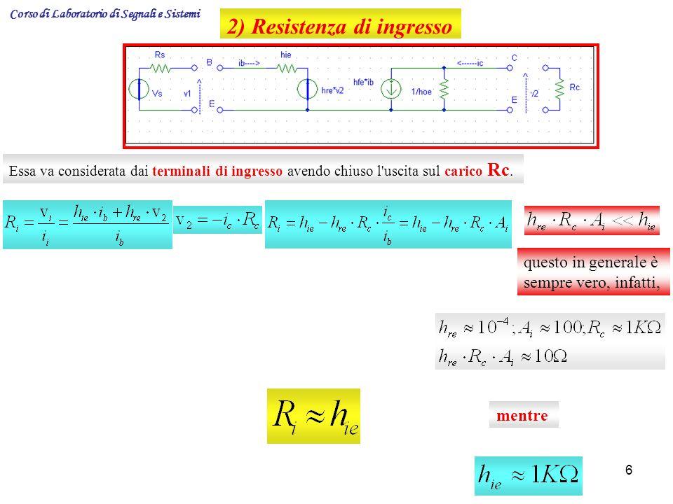6 2) Resistenza di ingresso Essa va considerata dai terminali di ingresso avendo chiuso l'uscita sul carico Rc. questo in generale è sempre vero, infa