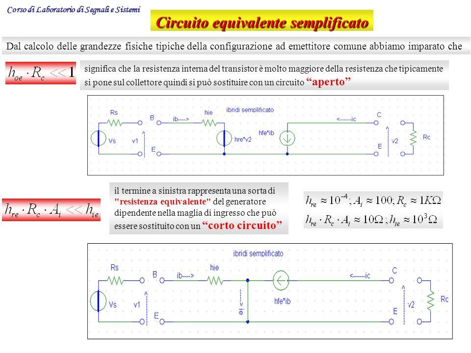 9 Circuito equivalente semplificato Dal calcolo delle grandezze fisiche tipiche della configurazione ad emettitore comune abbiamo imparato che signifi