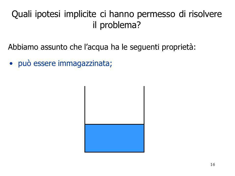 16 Quali ipotesi implicite ci hanno permesso di risolvere il problema.