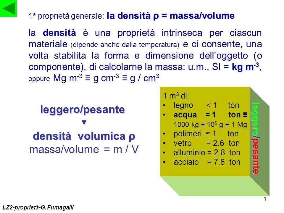 1 la densità ρ = massa/volume 1 a proprietà generale: la densità ρ = massa/volume kg m -3 la densità è una proprietà intrinseca per ciascun materiale
