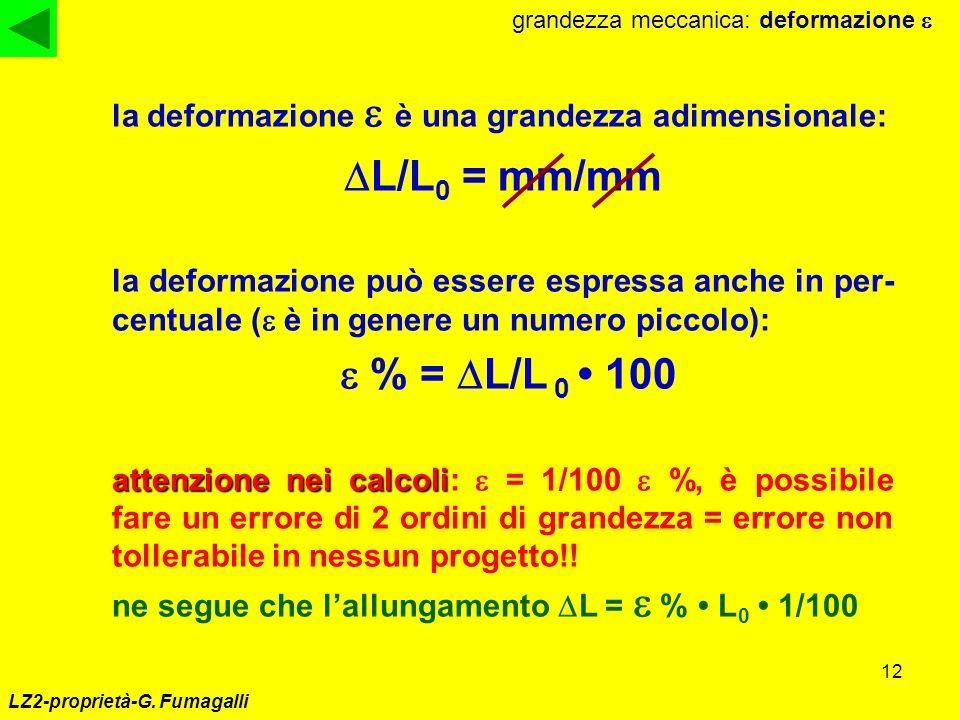12 LZ2-proprietà-G. Fumagalli grandezza meccanica: deformazione la deformazione è una grandezza adimensionale: L/L 0 = mm/mm la deformazione può esser