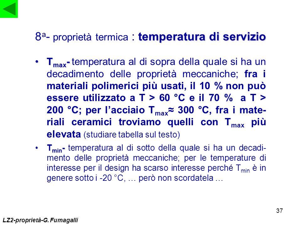 37 T max -T max - temperatura al di sopra della quale si ha un decadimento delle proprietà meccaniche; fra i materiali polimerici più usati, il 10 % n