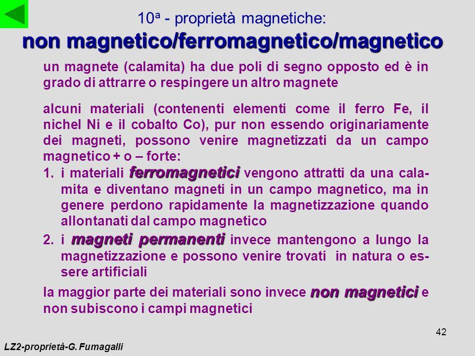42 10 a - proprietà magnetiche: non magnetico/ferromagnetico/magnetico un magnete (calamita) ha due poli di segno opposto ed è in grado di attrarre o