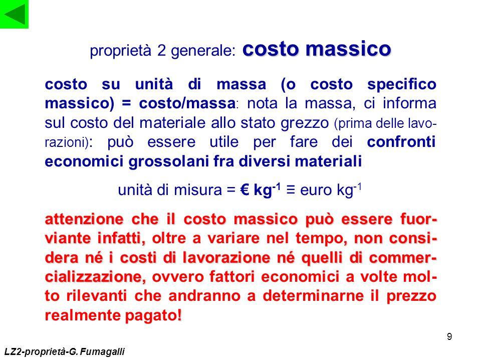 9 costo massico proprietà 2 generale: costo massico costo su unità di massa (o costo specifico massico) = costo/massa : nota la massa, ci informa sul