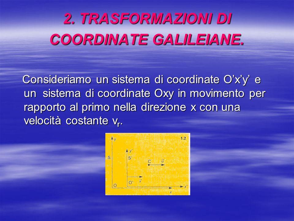 2. TRASFORMAZIONI DI COORDINATE GALILEIANE. Consideriamo un sistema di coordinate Oxy e un sistema di coordinate Oxy in movimento per rapporto al prim