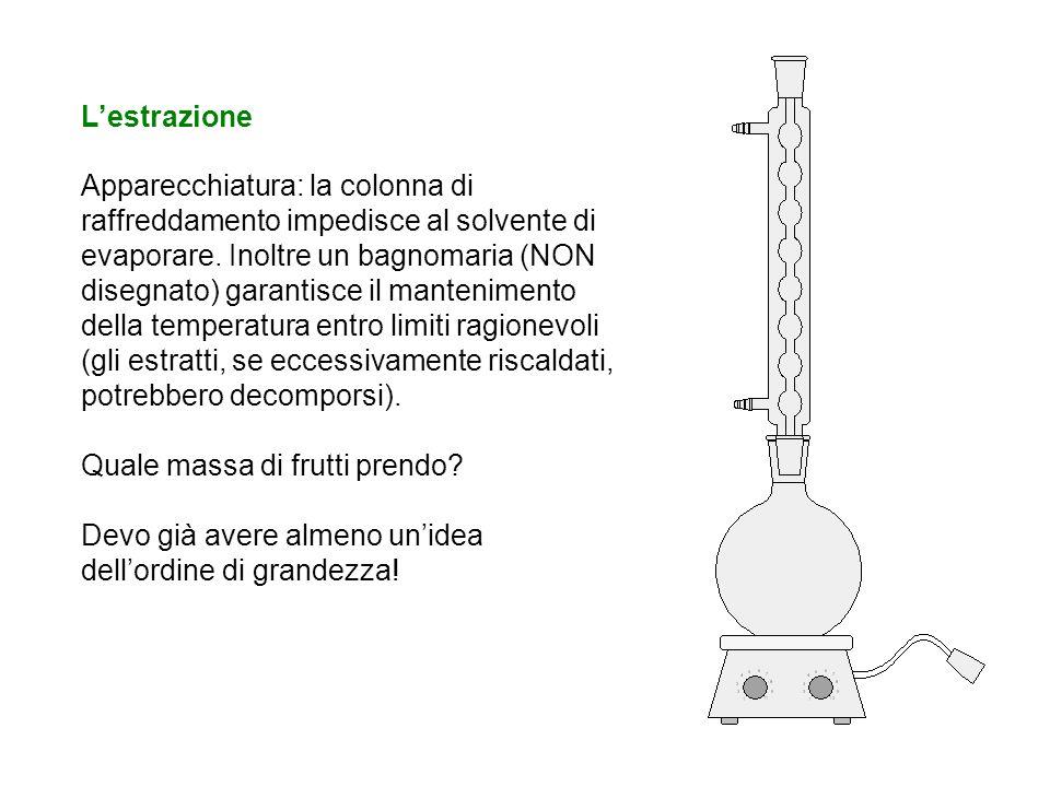 Lestrazione Apparecchiatura: la colonna di raffreddamento impedisce al solvente di evaporare. Inoltre un bagnomaria (NON disegnato) garantisce il mant