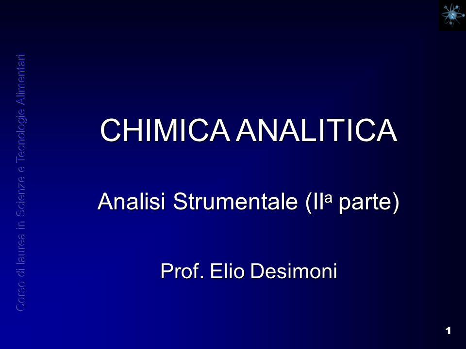 1 CHIMICA ANALITICA Analisi Strumentale (II a parte) Prof. Elio Desimoni