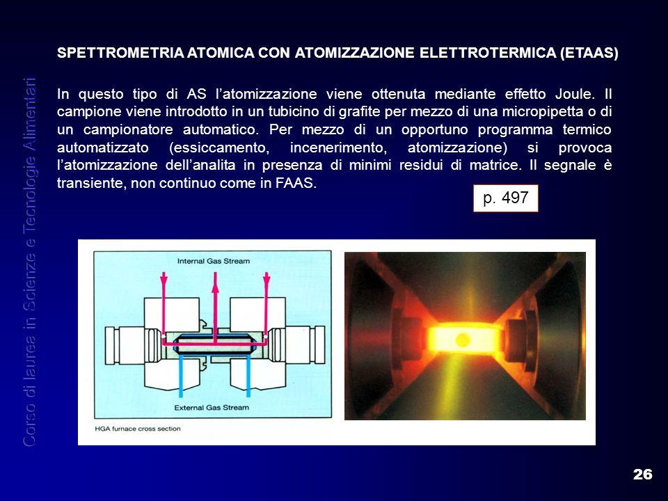 26 SPETTROMETRIA ATOMICA CON ATOMIZZAZIONE ELETTROTERMICA (ETAAS) In questo tipo di AS latomizzazione viene ottenuta mediante effetto Joule. Il campio