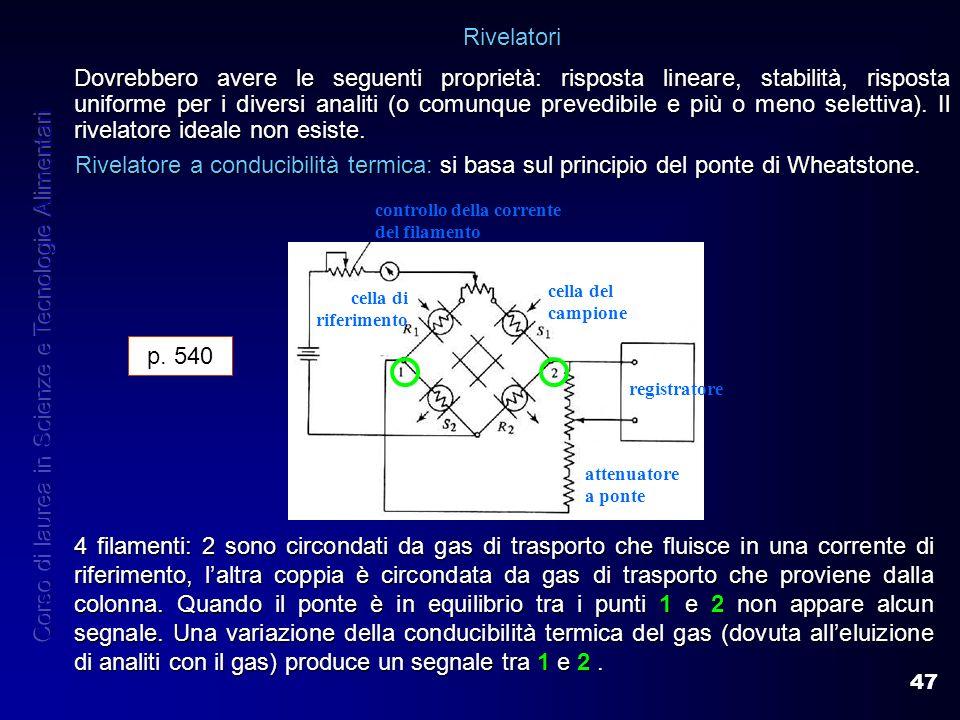 47 Rivelatori Dovrebbero avere le seguenti proprietà: risposta lineare, stabilità, risposta uniforme per i diversi analiti (o comunque prevedibile e p
