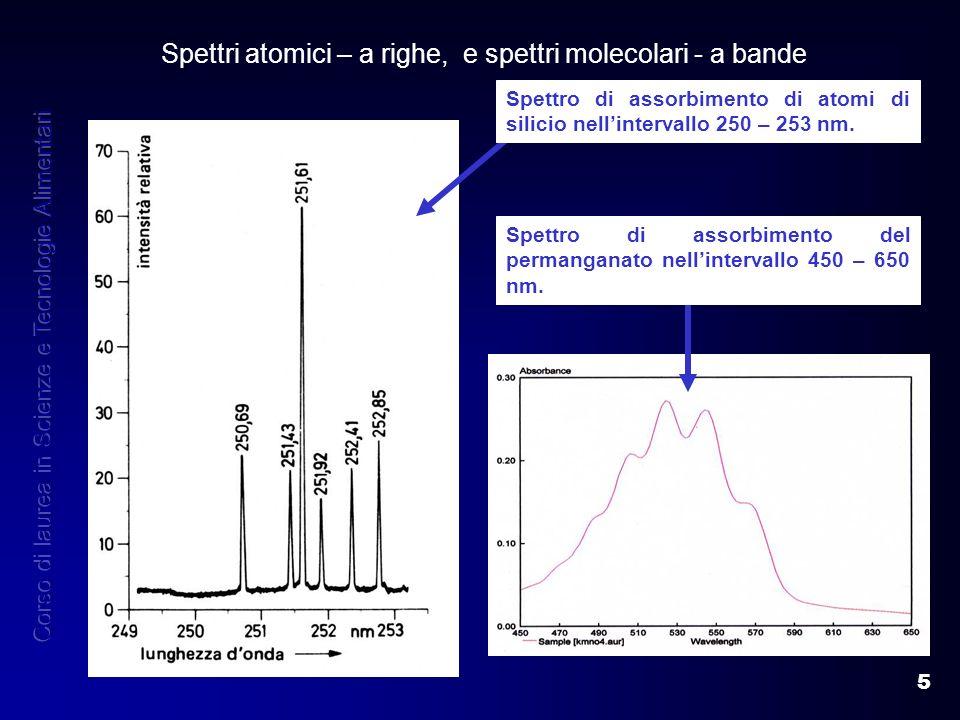 5 Spettri atomici – a righe, e spettri molecolari - a bande Spettro di assorbimento del permanganato nellintervallo 450 – 650 nm. Spettro di assorbime