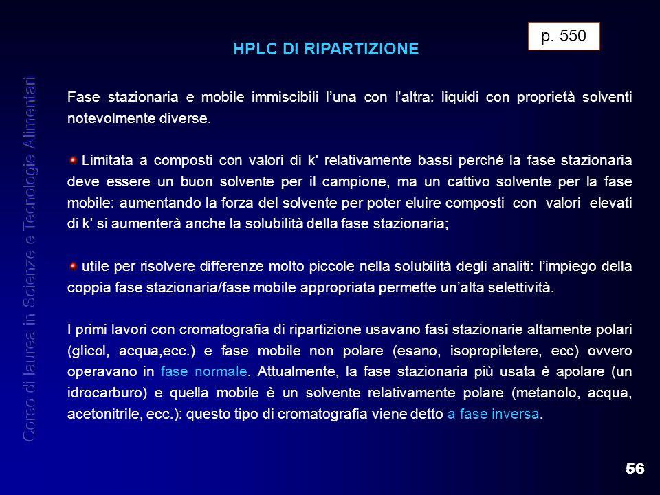 56 p. 550 HPLC DI RIPARTIZIONE Fase stazionaria e mobile immiscibili luna con laltra: liquidi con proprietà solventi notevolmente diverse. Limitata a