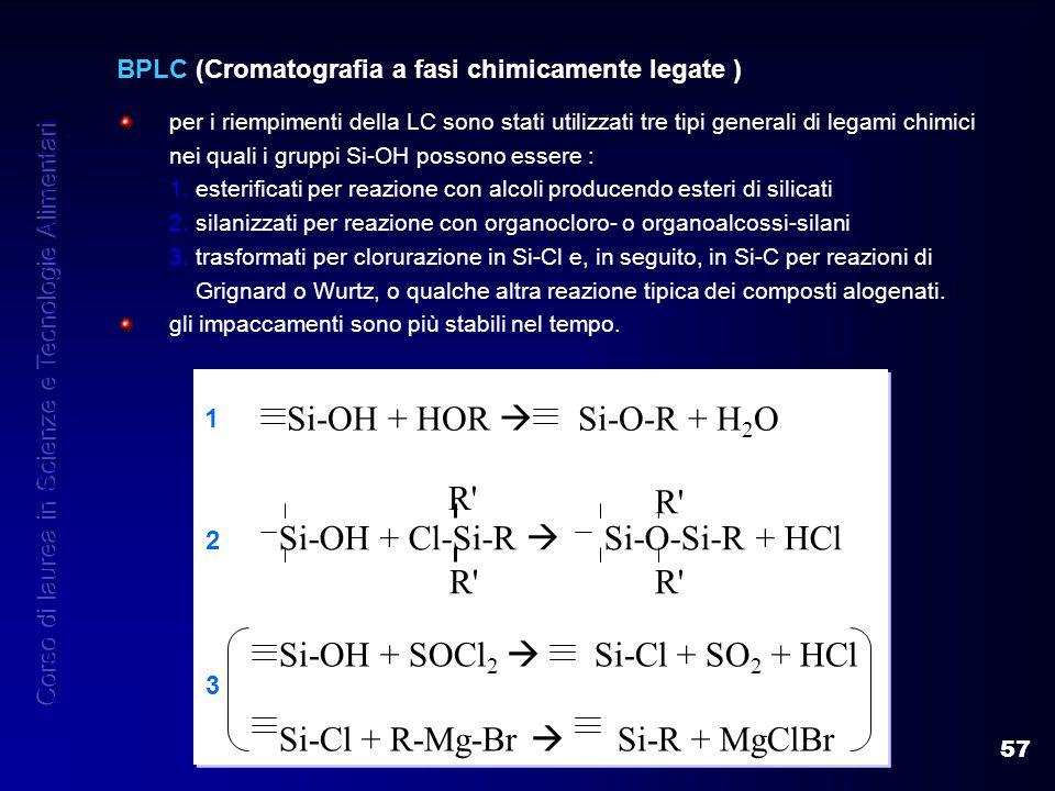 57 BPLC (Cromatografia a fasi chimicamente legate ) per i riempimenti della LC sono stati utilizzati tre tipi generali di legami chimici nei quali i g