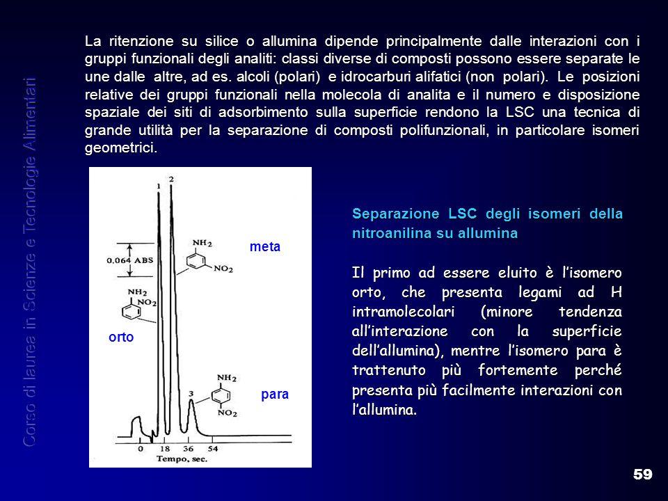 59 La ritenzione su silice o allumina dipende principalmente dalle interazioni con i gruppi funzionali degli analiti: classi diverse di composti posso