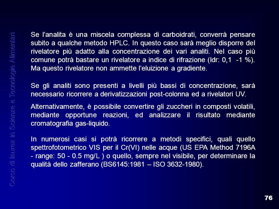 76 Se lanalita è una miscela complessa di carboidrati, converrà pensare subito a qualche metodo HPLC. In questo caso sarà meglio disporre del rivelato