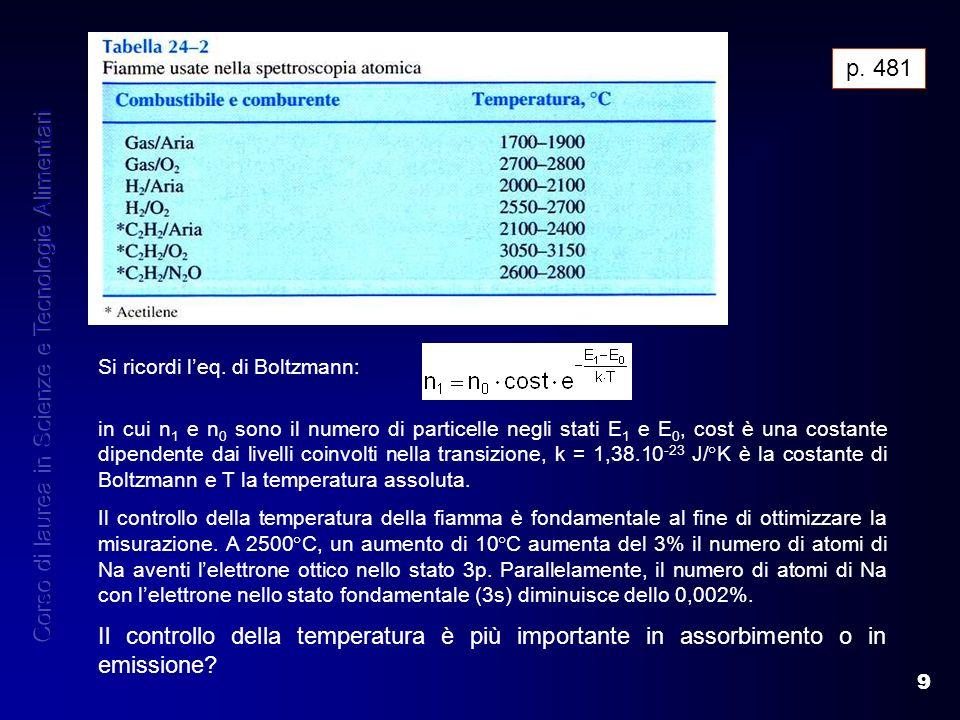9 p. 481 in cui n 1 e n 0 sono il numero di particelle negli stati E 1 e E 0, cost è una costante dipendente dai livelli coinvolti nella transizione,