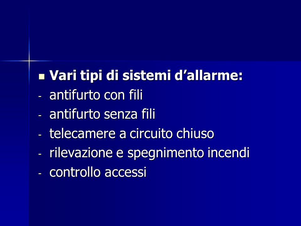 Vari tipi di sistemi dallarme: Vari tipi di sistemi dallarme: - antifurto con fili - antifurto senza fili - telecamere a circuito chiuso - rilevazione