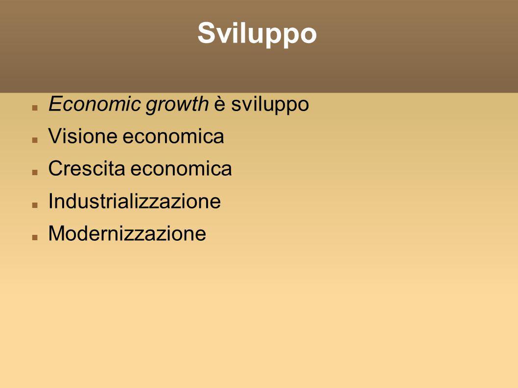 Sviluppo Economic growth è sviluppo Visione economica Crescita economica Industrializzazione Modernizzazione