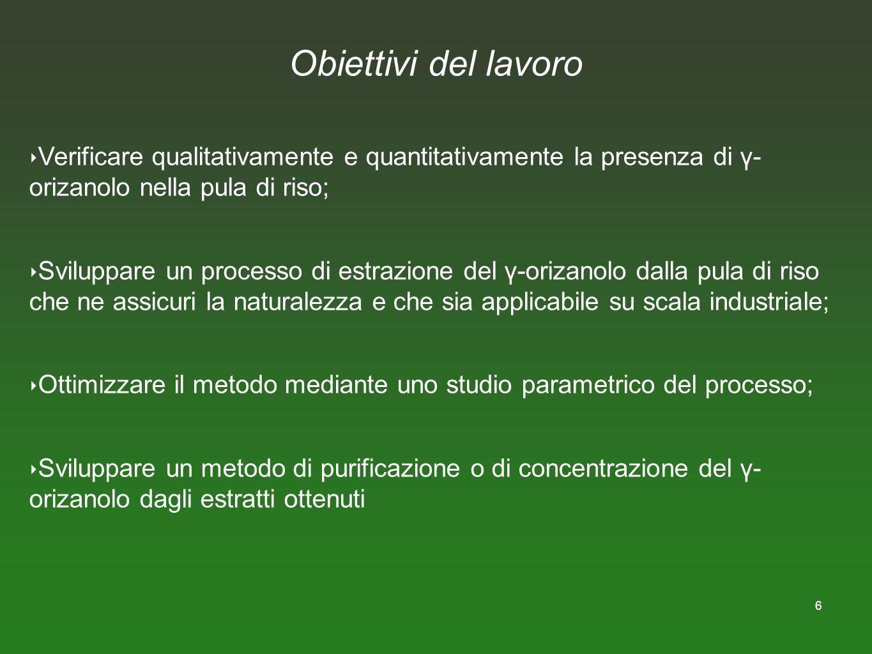 6 Obiettivi del lavoro Verificare qualitativamente e quantitativamente la presenza di γ- orizanolo nella pula di riso; Sviluppare un processo di estra