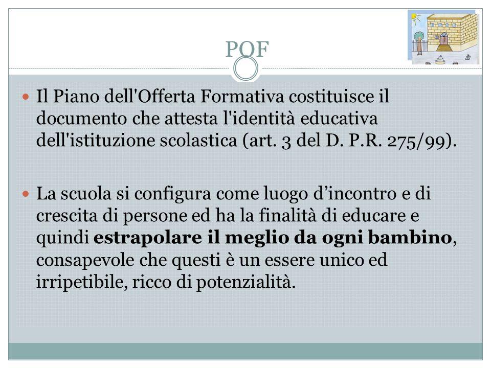 POF Il Piano dell'Offerta Formativa costituisce il documento che attesta l'identità educativa dell'istituzione scolastica (art. 3 del D. P.R. 275/99).