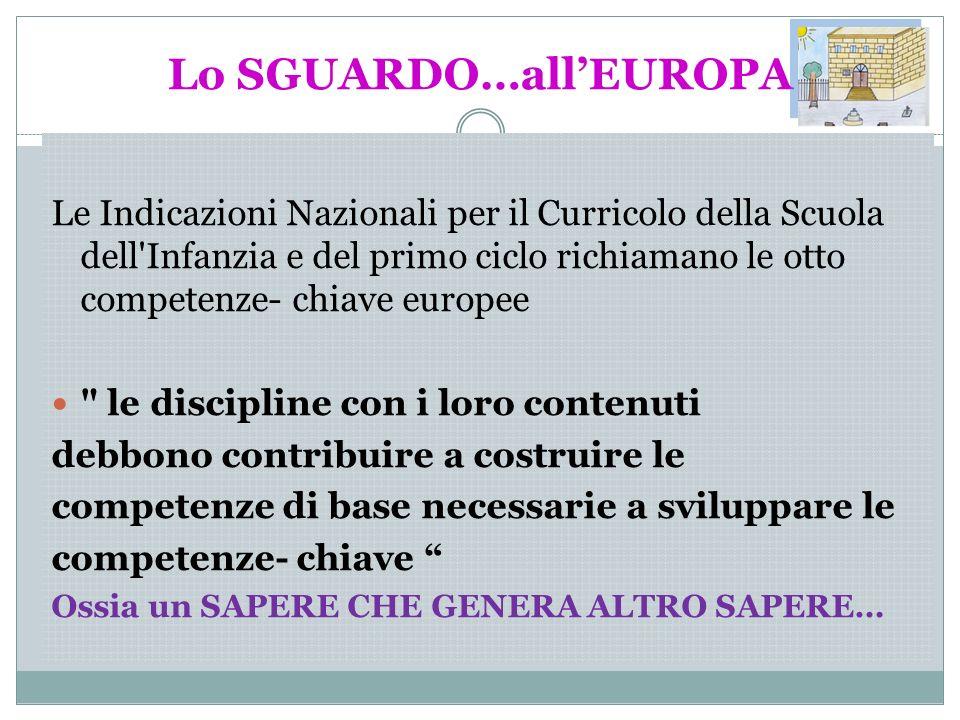 Lo SGUARDO…allEUROPA Le Indicazioni Nazionali per il Curricolo della Scuola dell'Infanzia e del primo ciclo richiamano le otto competenze- chiave euro