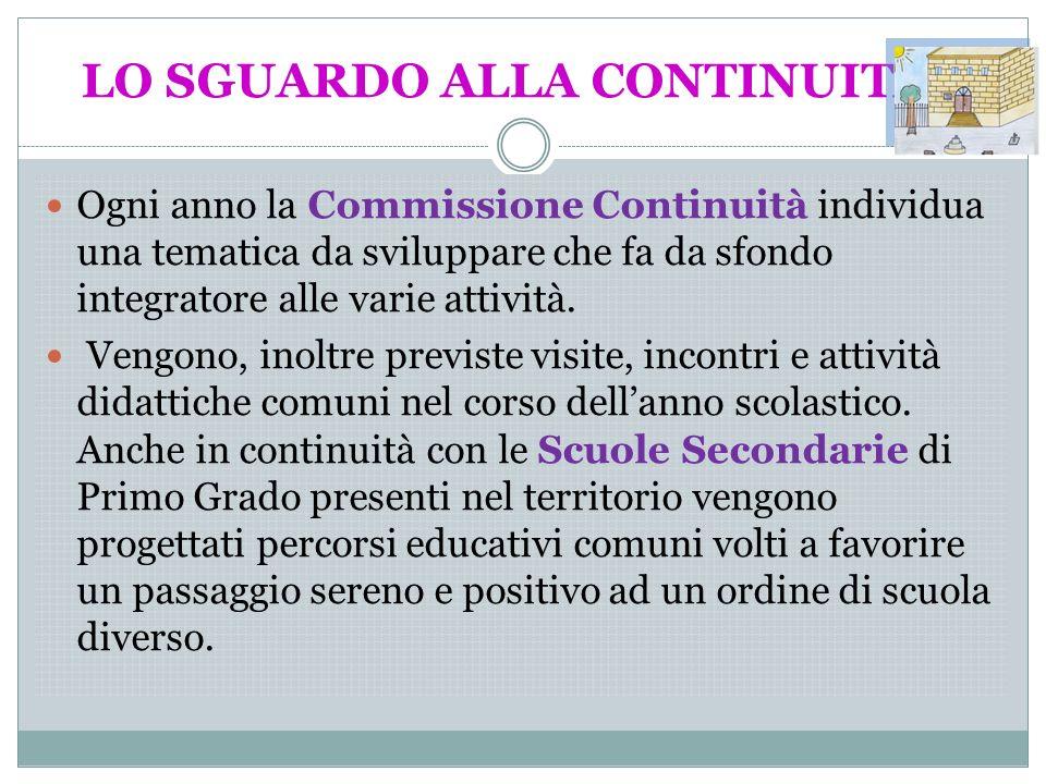 LO SGUARDO ALLA CONTINUITA? Ogni anno la Commissione Continuità individua una tematica da sviluppare che fa da sfondo integratore alle varie attività.