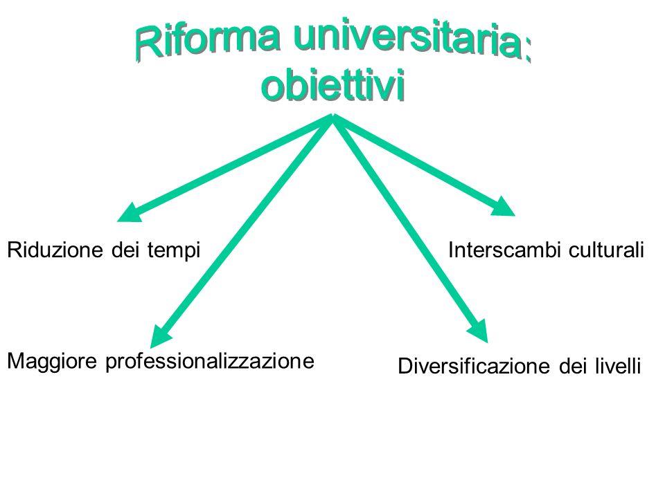 Riduzione dei tempi Maggiore professionalizzazione Diversificazione dei livelli Interscambi culturali
