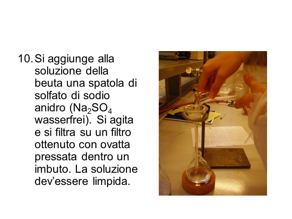 10.Si aggiunge alla soluzione della beuta una spatola di solfato di sodio anidro (Na 2 SO 4 wasserfrei). Si agita e si filtra su un filtro ottenuto co
