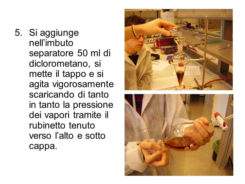 5.Si aggiunge nellimbuto separatore 50 ml di diclorometano, si mette il tappo e si agita vigorosamente scaricando di tanto in tanto la pressione dei v