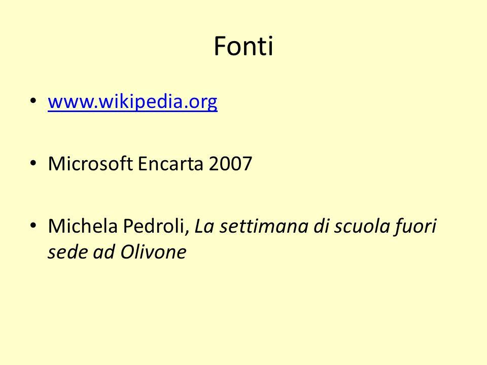 Fonti www.wikipedia.org Microsoft Encarta 2007 Michela Pedroli, La settimana di scuola fuori sede ad Olivone