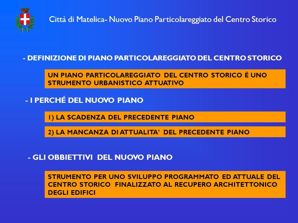 Città di Matelica- Nuovo Piano Particolareggiato del Centro Storico - DEFINIZIONE DI PIANO PARTICOLAREGGIATO DEL CENTRO STORICO UN PIANO PARTICOLAREGGIATO DEL CENTRO STORICO È UNO STRUMENTO URBANISTICO ATTUATIVO - I PERCHÉ DEL NUOVO PIANO 1) LA SCADENZA DEL PRECEDENTE PIANO 2) LA MANCANZA DI ATTUALITA DEL PRECEDENTE PIANO - GLI OBBIETTIVI DEL NUOVO PIANO STRUMENTO PER UNO SVILUPPO PROGRAMMATO ED ATTUALE DEL CENTRO STORICO FINALIZZATO AL RECUPERO ARCHITETTONICO DEGLI EDIFICI