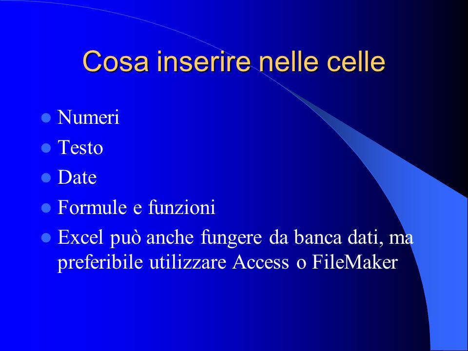 Cosa inserire nelle celle Numeri Testo Date Formule e funzioni Excel può anche fungere da banca dati, ma preferibile utilizzare Access o FileMaker