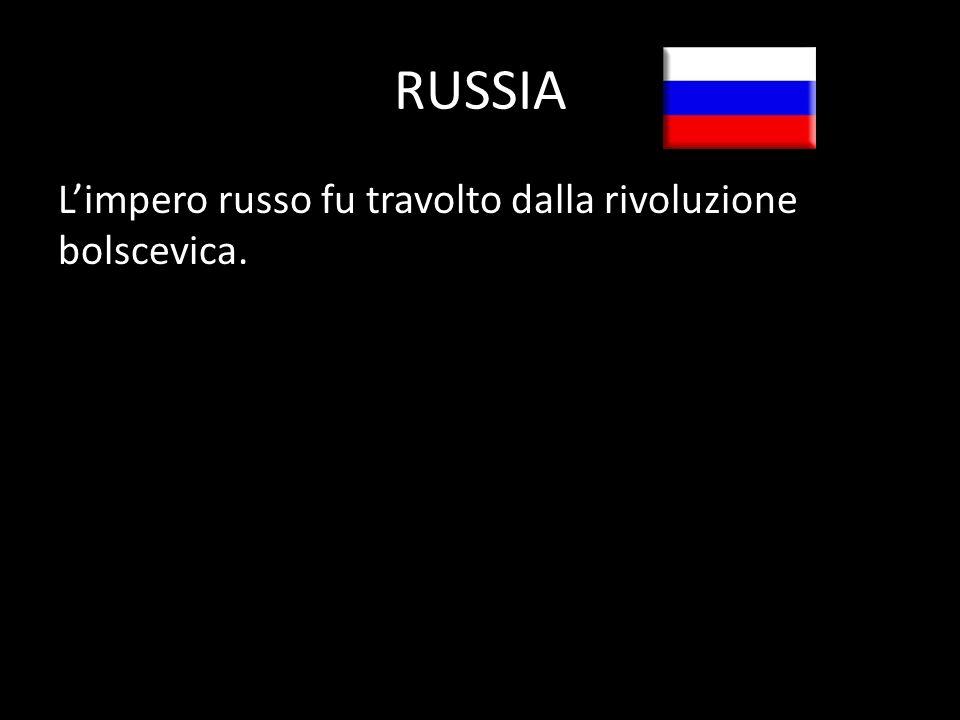 RUSSIA Limpero russo fu travolto dalla rivoluzione bolscevica.