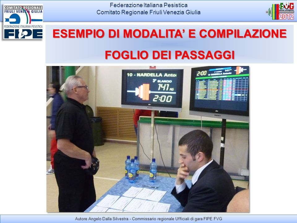 Federazione Italiana Pesistica Comitato Regionale Friuli Venezia Giulia Federazione Italiana Pesistica Comitato Regionale Friuli Venezia Giulia ESEMPI