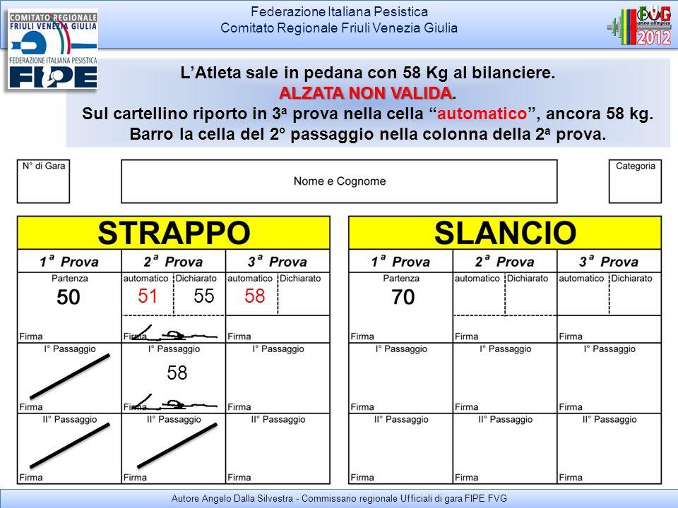 Federazione Italiana Pesistica Comitato Regionale Friuli Venezia Giulia Federazione Italiana Pesistica Comitato Regionale Friuli Venezia Giulia LAtleta/Allenatore NON DICHIARA nessun passaggio Sale in pedana e ripete i 58 kg.