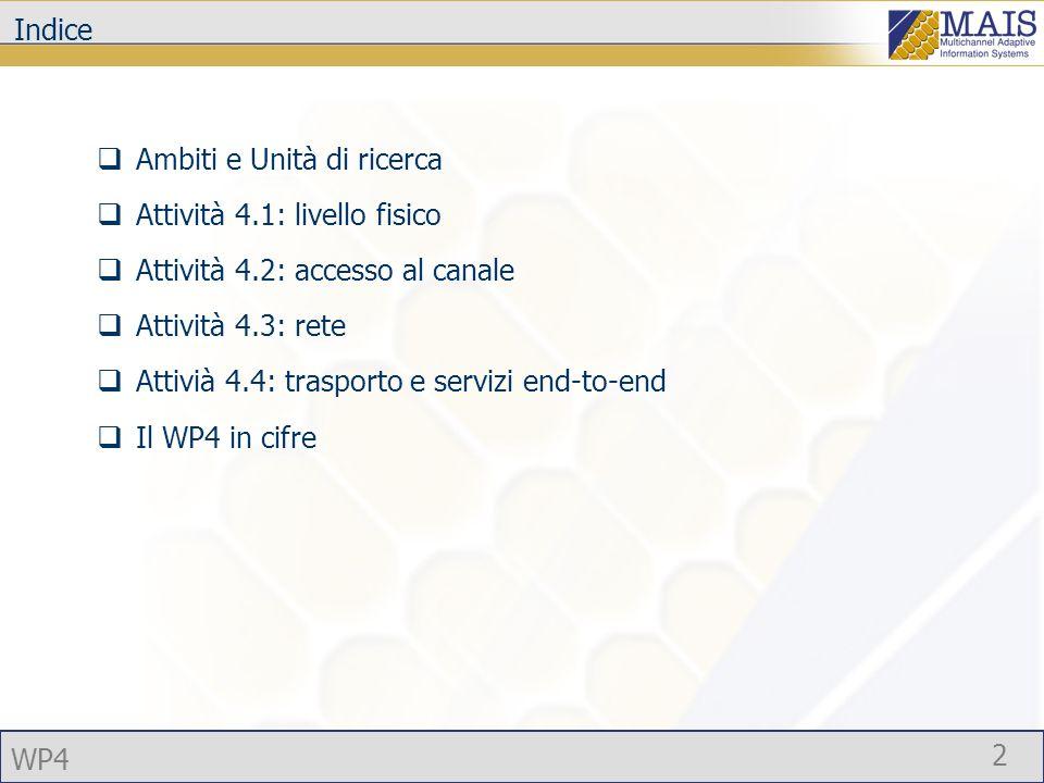 WP4 2 Indice Ambiti e Unità di ricerca Attività 4.1: livello fisico Attività 4.2: accesso al canale Attività 4.3: rete Attivià 4.4: trasporto e servizi end-to-end Il WP4 in cifre