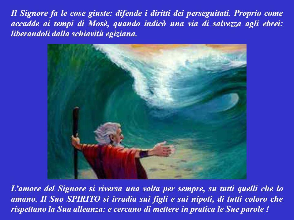 SALMO RESPONSORIALE (Salmo 102,1-4.6-7.17-18) Lo SPIRITO di Dio è su quanti lo amano. Anima mia, benedici il Signore: con tutta te stessa. Anima mia,