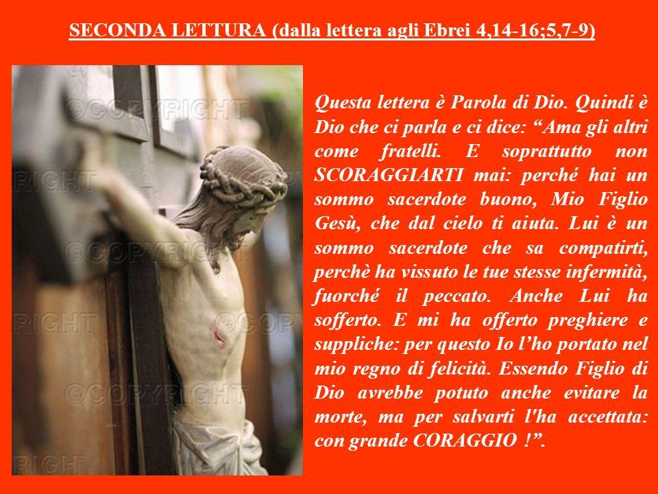 SECONDA LETTURA (dalla lettera agli Ebrei 4,14-16;5,7-9) Questa lettera è Parola di Dio.