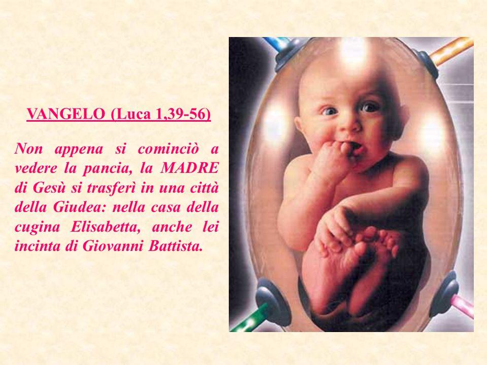 VANGELO (Luca 1,39-56) Non appena si cominciò a vedere la pancia, la MADRE di Gesù si trasferì in una città della Giudea: nella casa della cugina Elisabetta, anche lei incinta di Giovanni Battista.