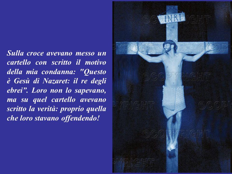 Giunti sul monte Gòlgota, dove avvenivano le crocifissioni, mi offrirono del vino mescolato a fiele: usato a quei tempi come anestetico.