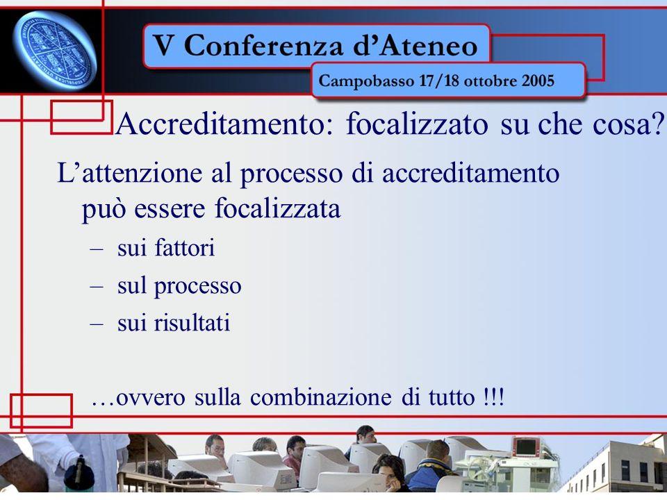 Lattenzione al processo di accreditamento può essere focalizzata – sui fattori – sul processo – sui risultati …ovvero sulla combinazione di tutto !!.